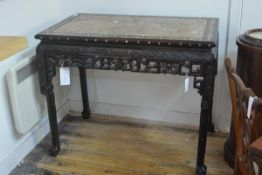 A Chinese mother of pearl inlaid rosewood, marble-topped side table, the rectangular top inset