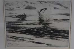 Norman Wilkinson, (1878-1971), Leaping Salmon, etching, signed in pencil, framed. 22.5cm by 30cm
