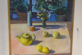 Davy Brown (Scottish, b. 1950), The Yellow Teapot, signed lower left, oil on board, framed. 38cm