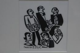 Willie Rodger R.S.A., R.G.I. (Scottish, b. 1930), Private View, linocut, ed. 19/100, framed. 12.