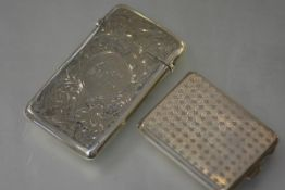 A George V silver card case, Mappin & Webb, Birmingham 1924, with engine turned decoration and