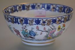A Chinese Export porcelain bowl, 19th century, enamel painted with figures and flowering boughs
