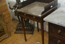 A small Edwardian marble topped mahogany washstand in the Adam Revival taste, the galleried top