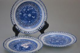 A set of three early 19th century pearlware plates, reticulated, each decorated with Egyptian motifs