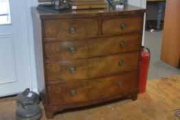A George III mahogany bowfronted chest of drawers, with two short over three long graduated