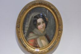 19th Century School, Portrait of a Young Girl with a Rose in her Hair, reverse painting on glass,