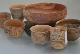 A group of Indus Valley terracotta ceramics, c. 1500-2000 BC including cups and bowls painted with