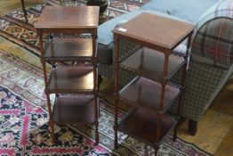 A pair of Regency style mahogany etageres, the square top above three tiers, each with pierced
