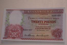 The National Bank of Scotland, £20 banknote, Edinburgh, 1st November 1957, serial no. A009-937,