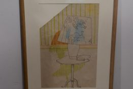 •Sir Osbert Lancaster (1908-1986), Lamp on a Tripod Table, conte crayon and ink on paper, framed.