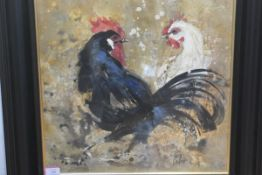 "20th Century School, ""Love Birds"", indistinctly signed, oil on canvas, framed. 49cm square"