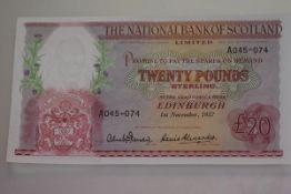 The National Bank of Scotland, £20 banknote, Edinburgh, 1st November 1957, serial no. A045-074,