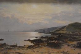 Duncan Cameron (Scottish 1837-1916), A Harbour at Sunrise, signed lower left, oil on canvas, in a