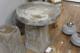 A sandstone staddle stone, of characteristic form. 54cm by 44cm diameter