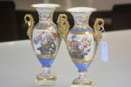 A pair of Continental porcelain vases, 19th century, possibly Paris, of baluster form, each