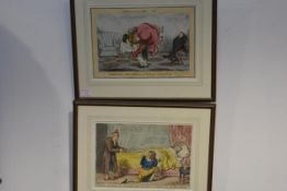 Two early 19th century hand-coloured comic etchings: John Phillips (pseudonym A. Sharpshooter),