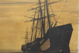 Peter Knox (British, b. 1942), Beached Ships at Sunset, signed oil on canvas, unframed. 75cm by
