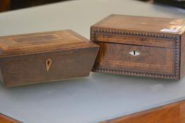 A 19th century Tunbridgeware work box, of plain rectangular form, the cover inlaid with a mother