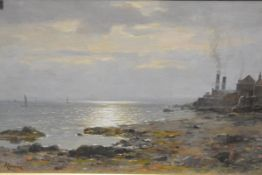 Duncan Cameron (Scottish 1837-1916), Coastal Cottages at Sunset, signed lower left, oil on canvas,