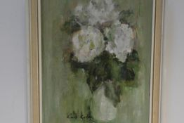Lena Robb (Scottish, 1891-1980), Still Life of White Roses, signed lower left, oil on board, framed.