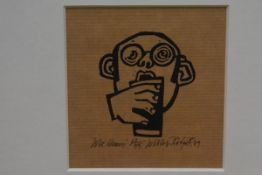 Willie Rodger A.R.S.A, R.G.I. (Scottish, b. 1930), Wee Heavy, linocut, ed. 62/75, framed. 10cm