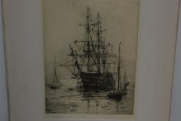 William Lionel Wyllie R.A. (1851-1931), HMS Victory, etching, signed in pencil, mounted, unframed.