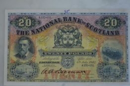 The National Bank of Scotland, £20 banknote, Edinburgh, 6th July 1942, serial no. A132-631, value