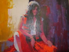 Donald Webster, A Gypsy Girl, signed lower left, acrylic on canvas, framed, 90cm x 77cm