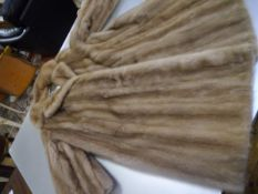 A vintage lady's three quarter length blonde mink coat, label for A.E. Ball, Edinburgh