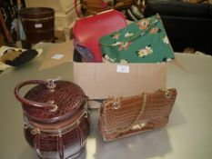 A group of vintage handbags including a barrel-form faux-crocodile bag, felt applique etc (c. 9)