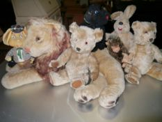 A collection of vintage teddy bears, dolls, soft toys etc, including Topo Gigio (1960's), a lion and