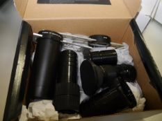 A Collection of projector lenses to include Kodak Vario-Retinar 70-120MC; Isco-Gottingen f=100mm;