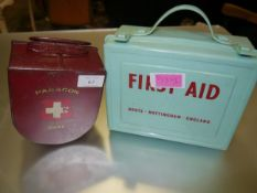 Two vintage First Aid boxes, one retailed by Boots c. 1960's, the other a Paragon red tin box of the