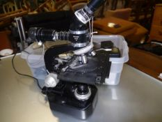 A Nikon Sk microscope complete with Nikon accessories to include medical mirror, intervalometer etc