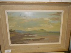 J.R. Angmore (20thc), A West Coast Bay, signed lower right, oil on canvas, framed, 21cm x 34cm