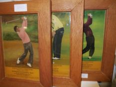 Golf Interest: A set of three reverse printed on glass images of well known golfers, Ballesteros,