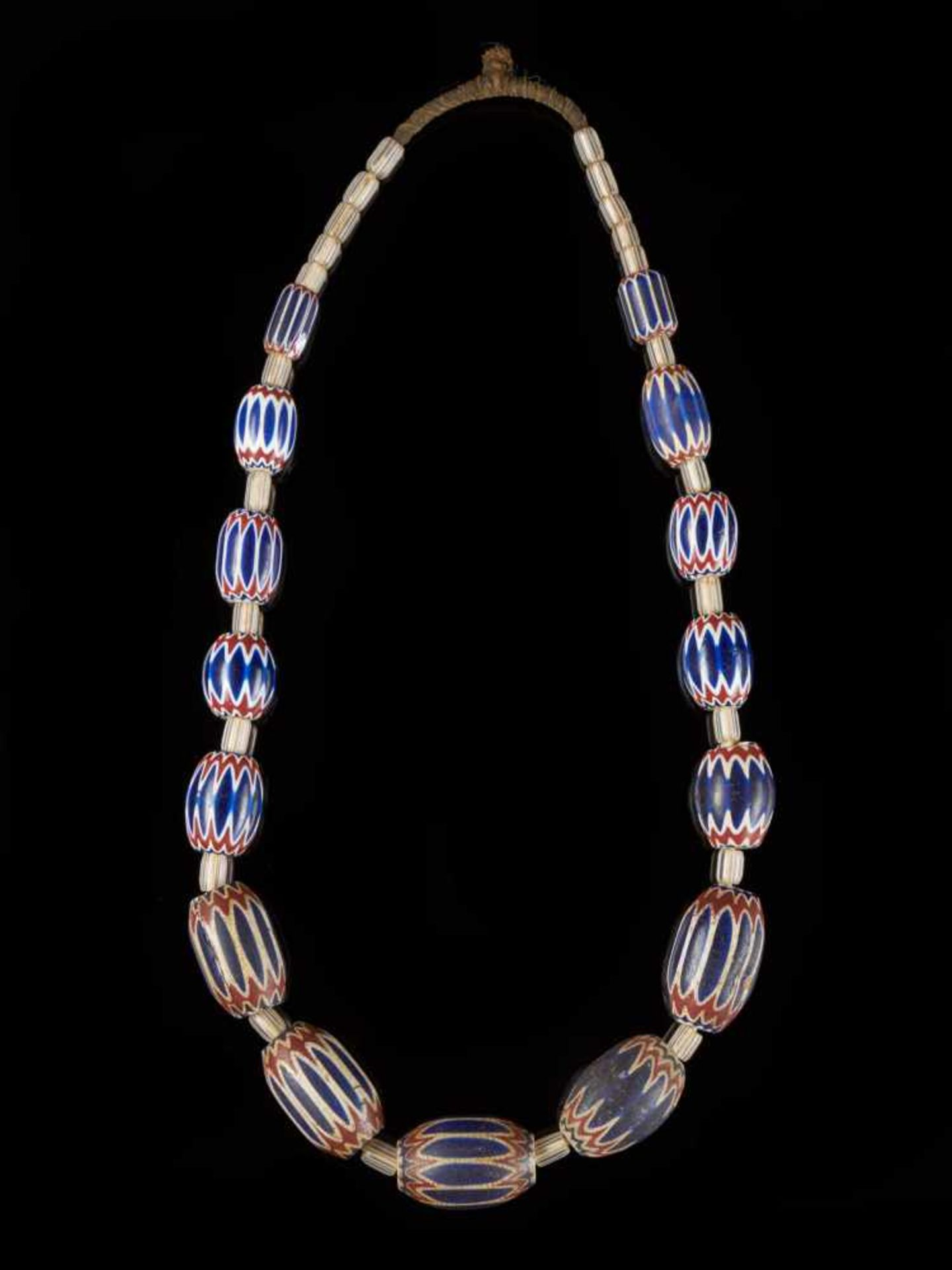 Traditional Bamileke 7 Layer Chevron Trade Bead Necklace Of 15 Beads. - Tribal ArtChevrons beads are