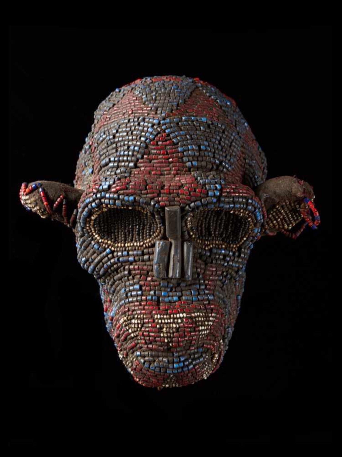Beaded Monkey Head - Tribal ArtThis beaded monkey head has a striking realistic shape. It is