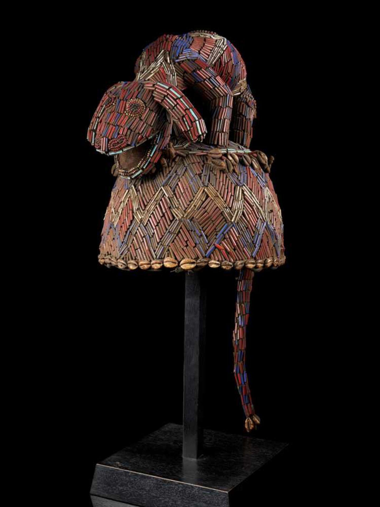 Beaded Blue Headdress With Kauris Finish - Tribal ArtThis impressive headdress is delightfully
