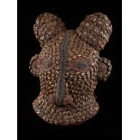 Beaded Ram Dancing Group Mask Covered With Kauris - Tribal ArtAn exquisite mask resembling a ram.