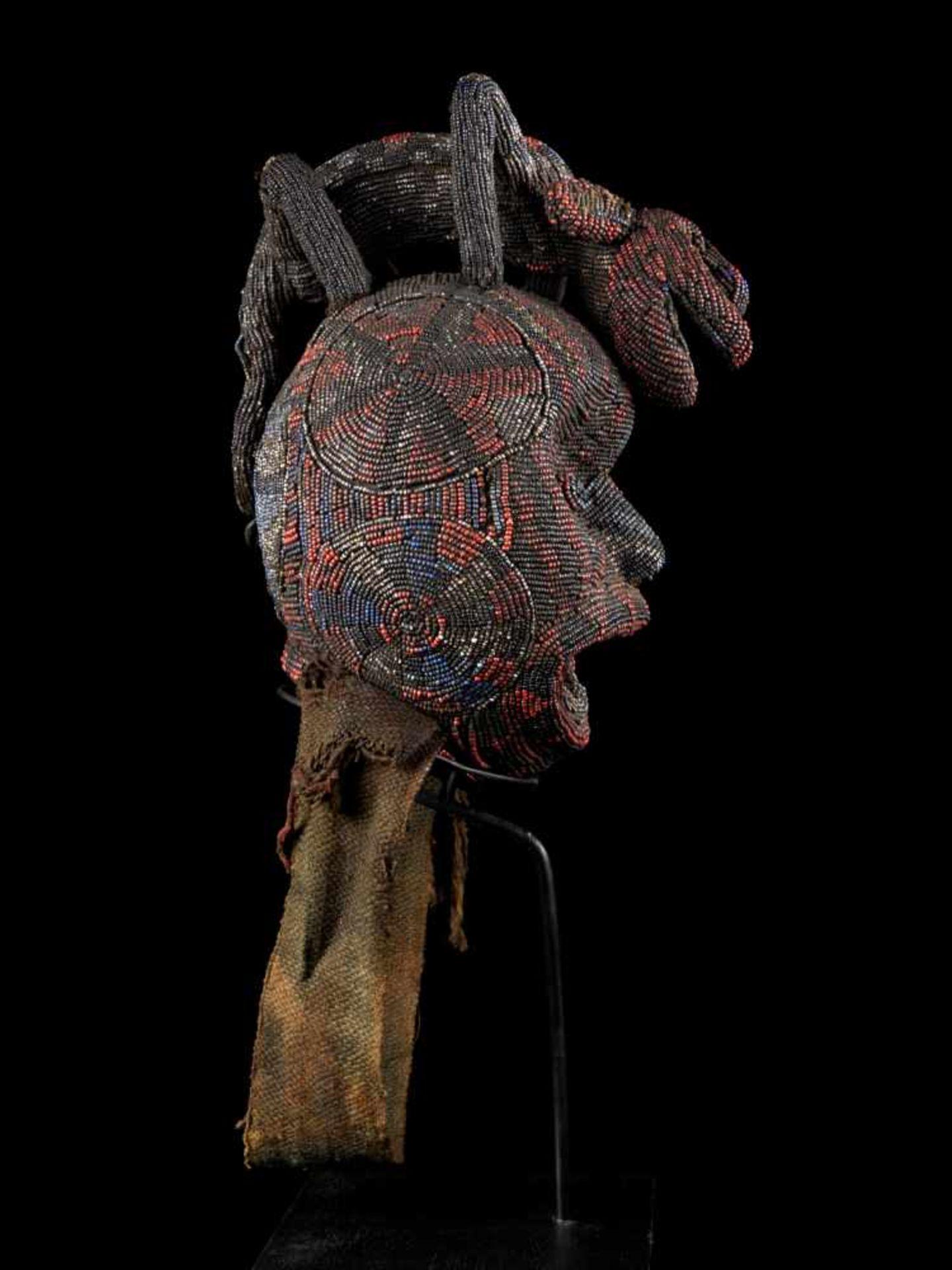 """Beaded Ceremonial Head """"Adwonzen"""" With Leopard Mount, Grassland People, Cameroon - Tribal - Bild 5 aus 5"""