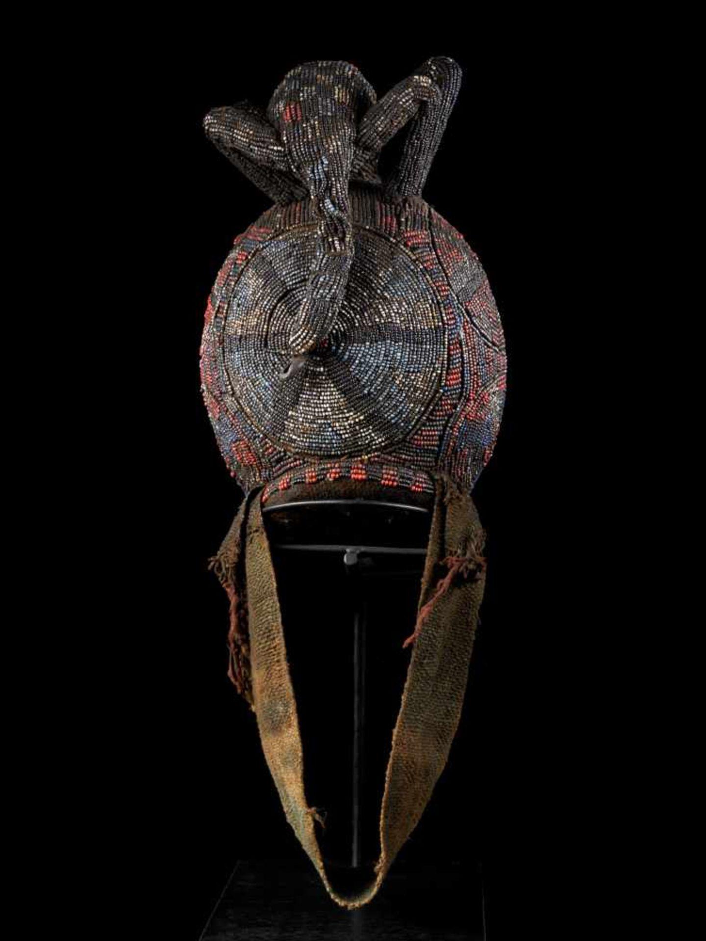 """Beaded Ceremonial Head """"Adwonzen"""" With Leopard Mount, Grassland People, Cameroon - Tribal - Bild 4 aus 5"""