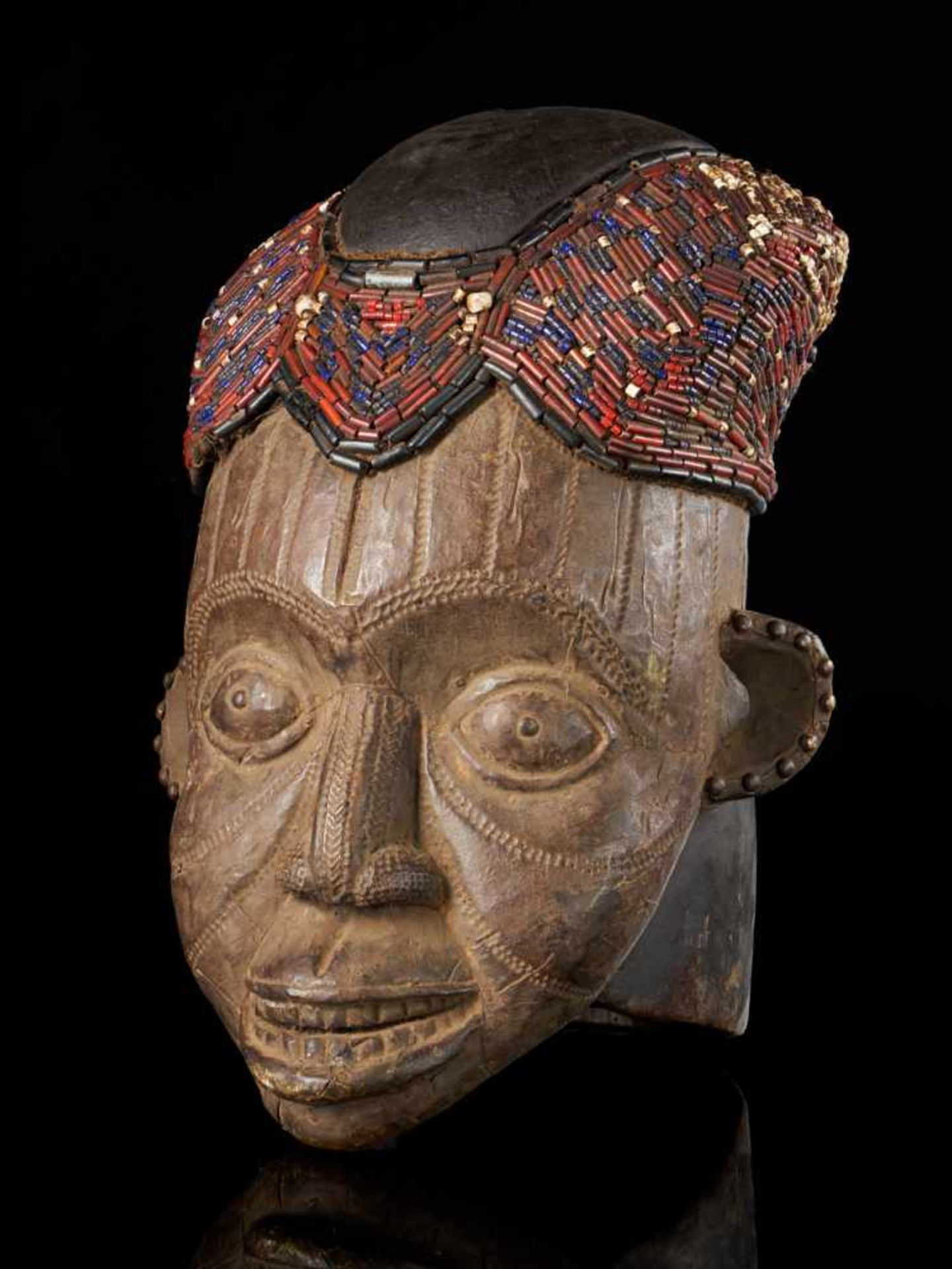 Beaded Helmet Mask - Copper Covered Face - Tribal ArtThis gorgeous wooden mask is detailed with a