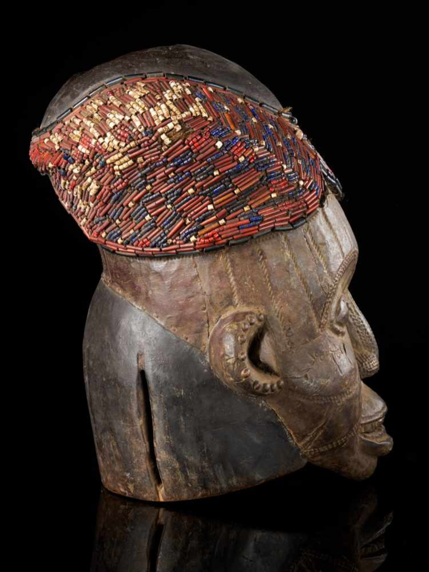 Beaded Helmet Mask - Copper Covered Face - Tribal ArtThis gorgeous wooden mask is detailed with a - Bild 4 aus 5