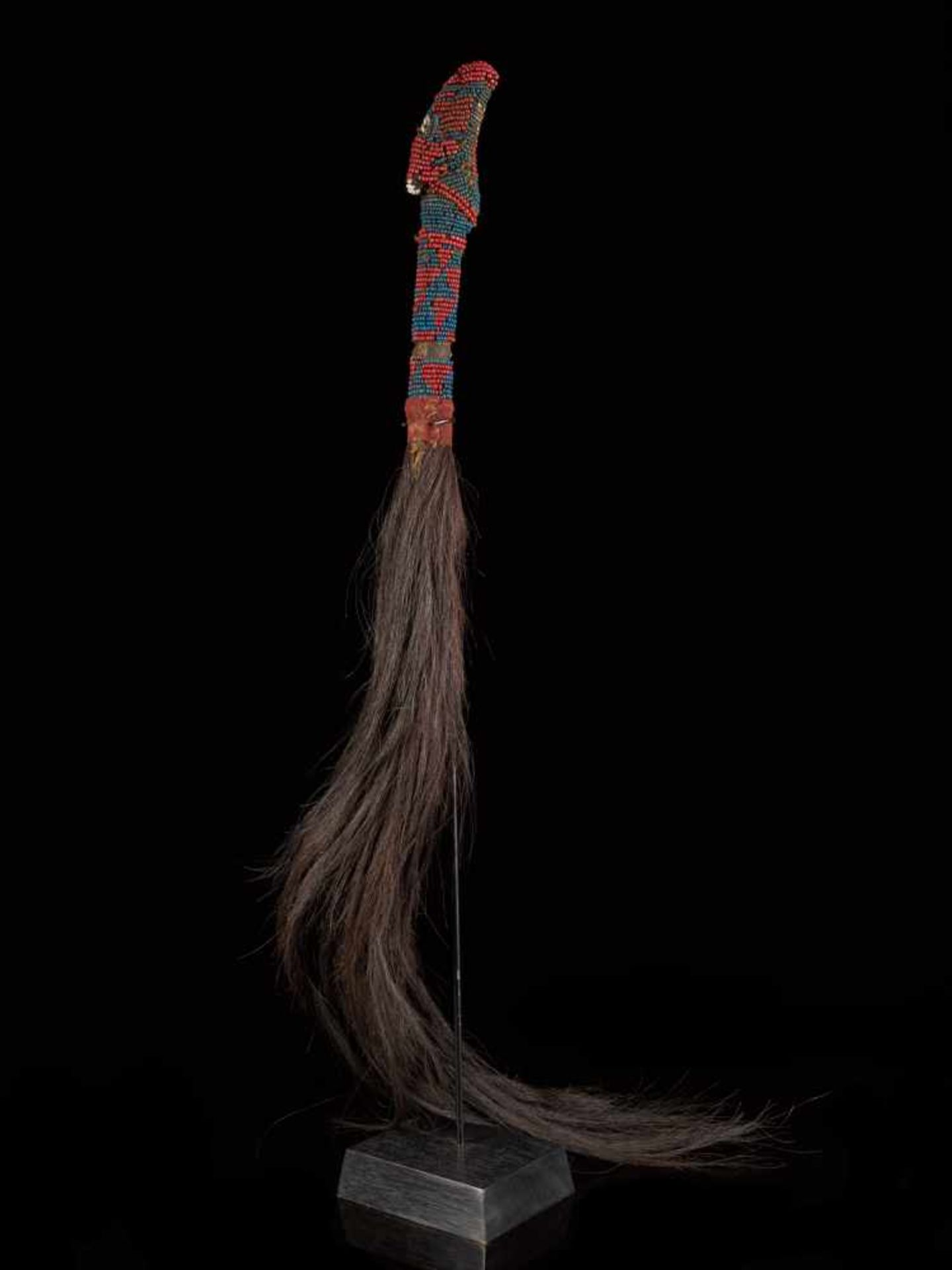 Beaded Throwing Flywhisk - Tribal ArtA gorgeously created beaded flywhisk. The handle is beautifully
