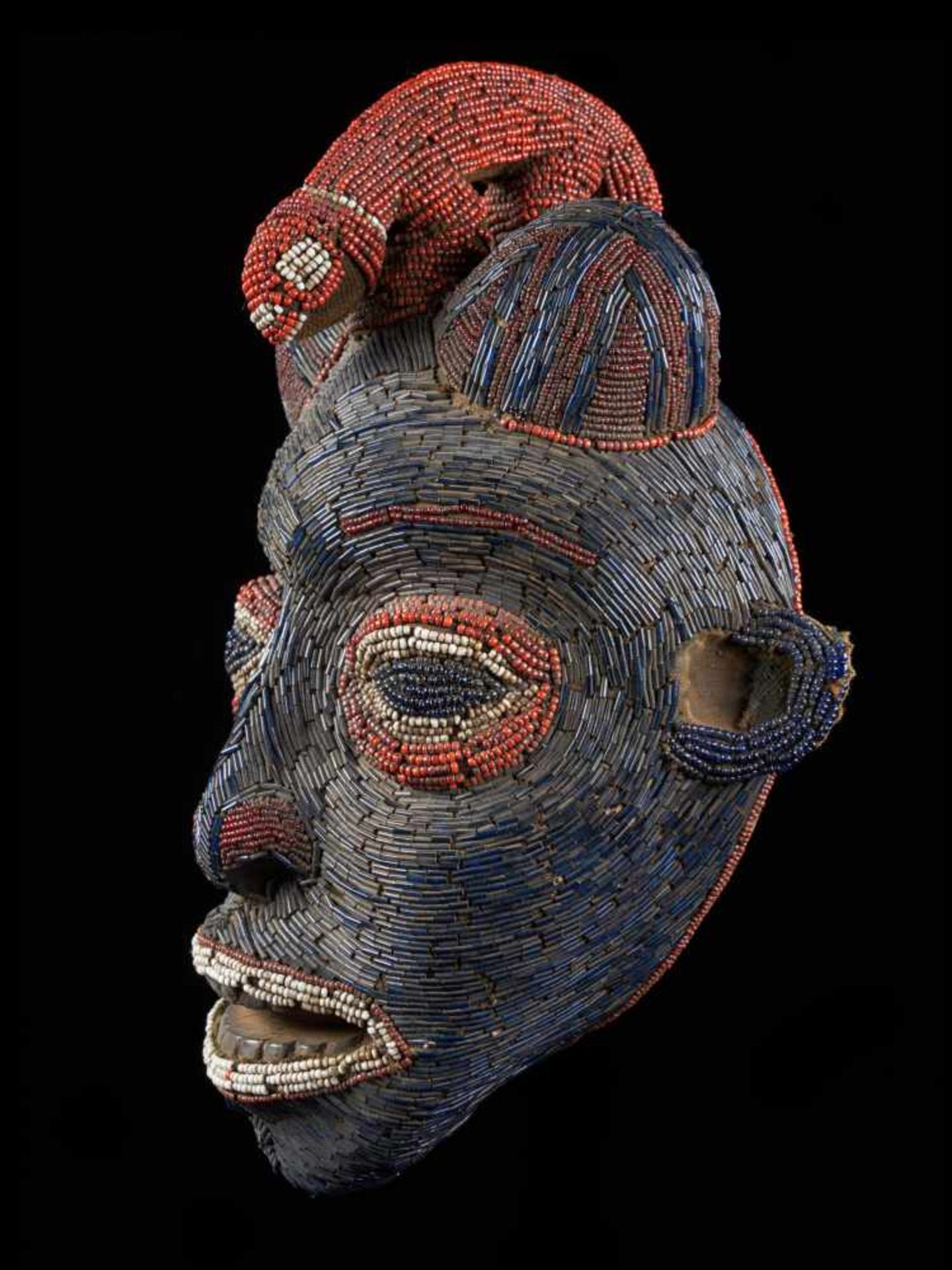 Facemask Topped With Leopard Figure - Tribal ArtAn exquisite blue face mask. This wooden mask is - Bild 3 aus 6