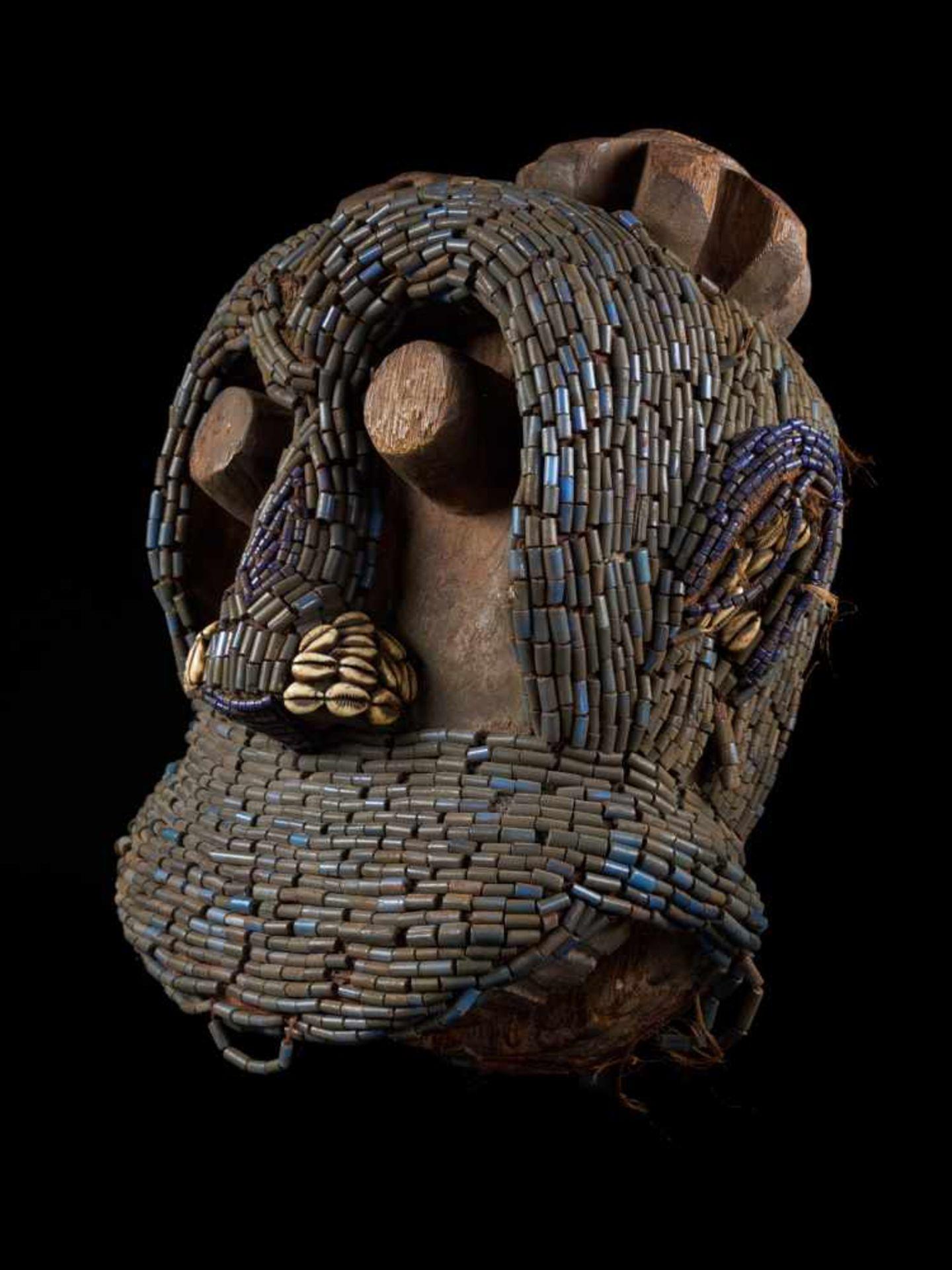 Beaded Gorilla Mask With Wooden Headdress - Tribal ArtA beautiful gorilla mask fashioned from wood
