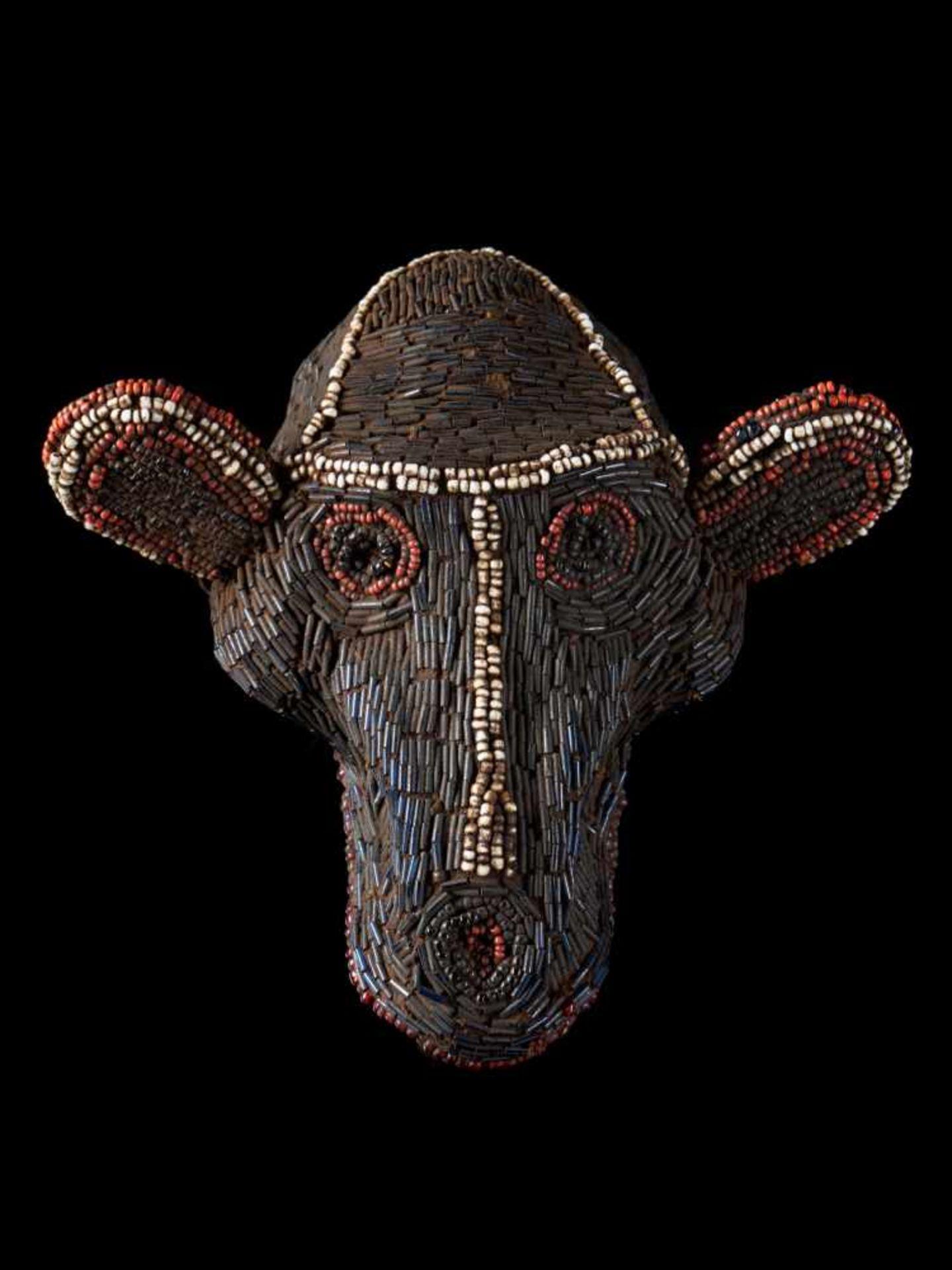 Beaded Monkey Head - Tribal ArtThis beaded monkey head has a striking gaunt appearance. It is
