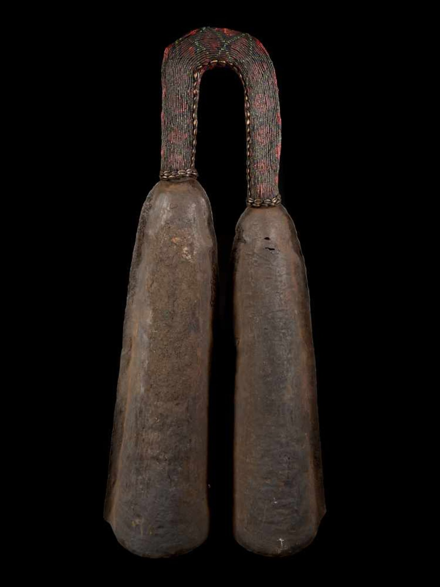 Ceremonial Double Gong With Beaded Handle - Tribal ArtThis ceremonial double gong consists of two