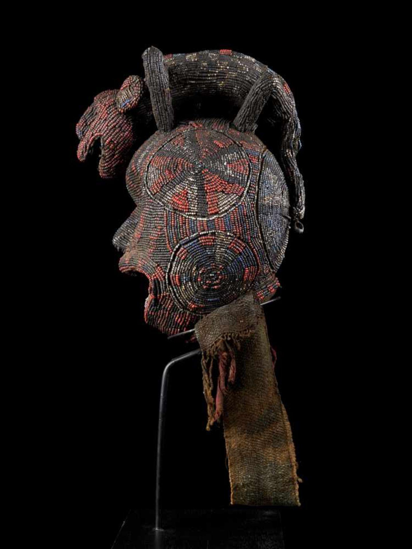 """Beaded Ceremonial Head """"Adwonzen"""" With Leopard Mount, Grassland People, Cameroon - Tribal - Bild 3 aus 5"""